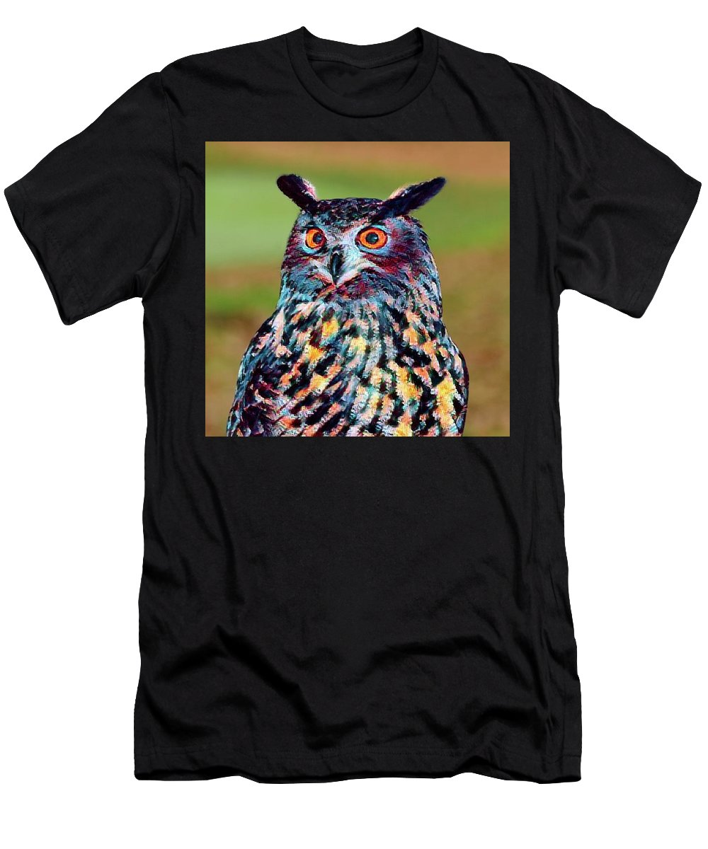 Abstract Art Men's T-Shirt (Athletic Fit) featuring the photograph European Eagle Owl by Robert Kinser