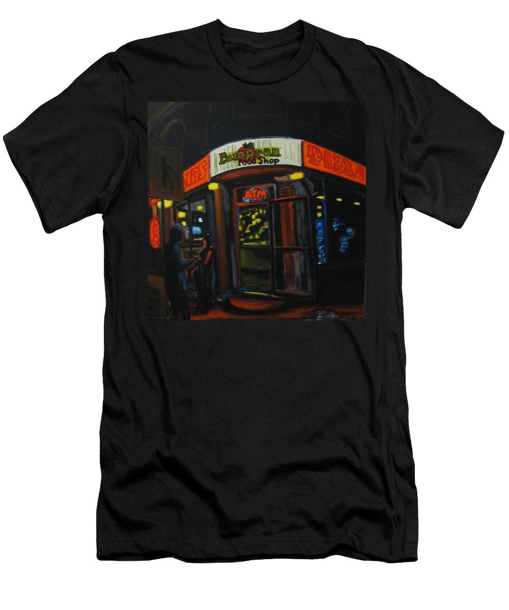 City Men's T-Shirt (Athletic Fit) featuring the painting European Food Shop by John Malone