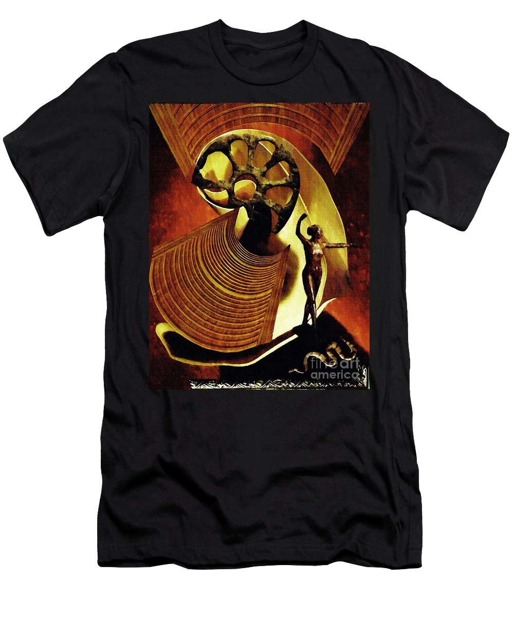 Eve Men's T-Shirt (Athletic Fit) featuring the mixed media Eve Balanced On A Tightrope by Sarah Loft