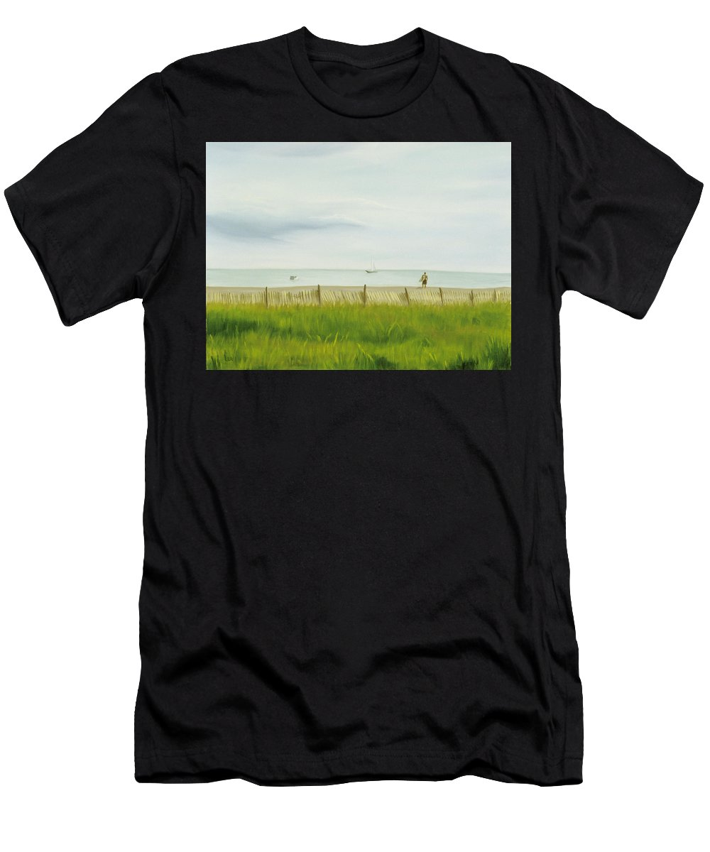 Seascape Men's T-Shirt (Athletic Fit) featuring the painting Evening At Cape May by Lea Novak