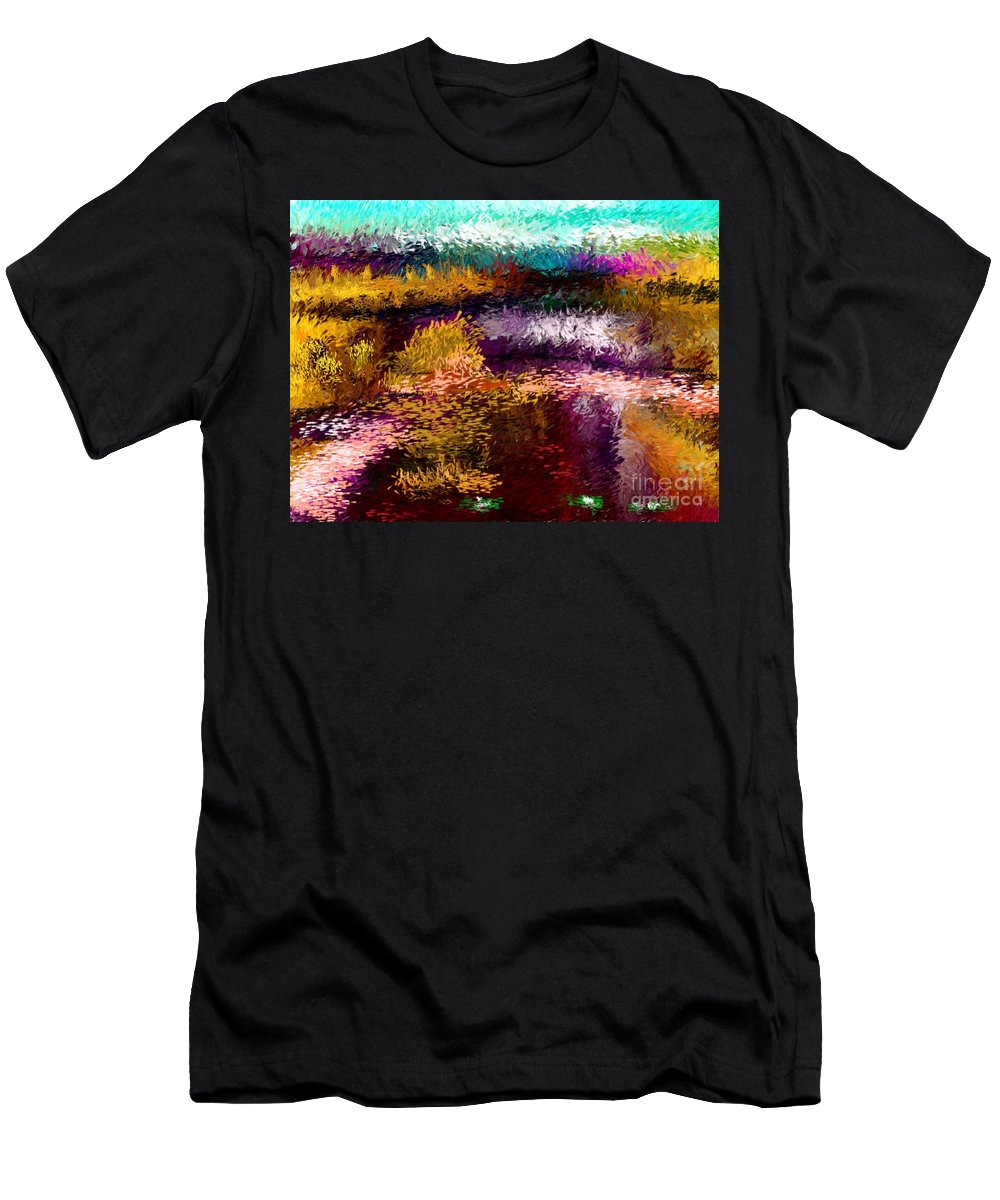 Abstract Men's T-Shirt (Athletic Fit) featuring the digital art Evening At The Pond by David Lane