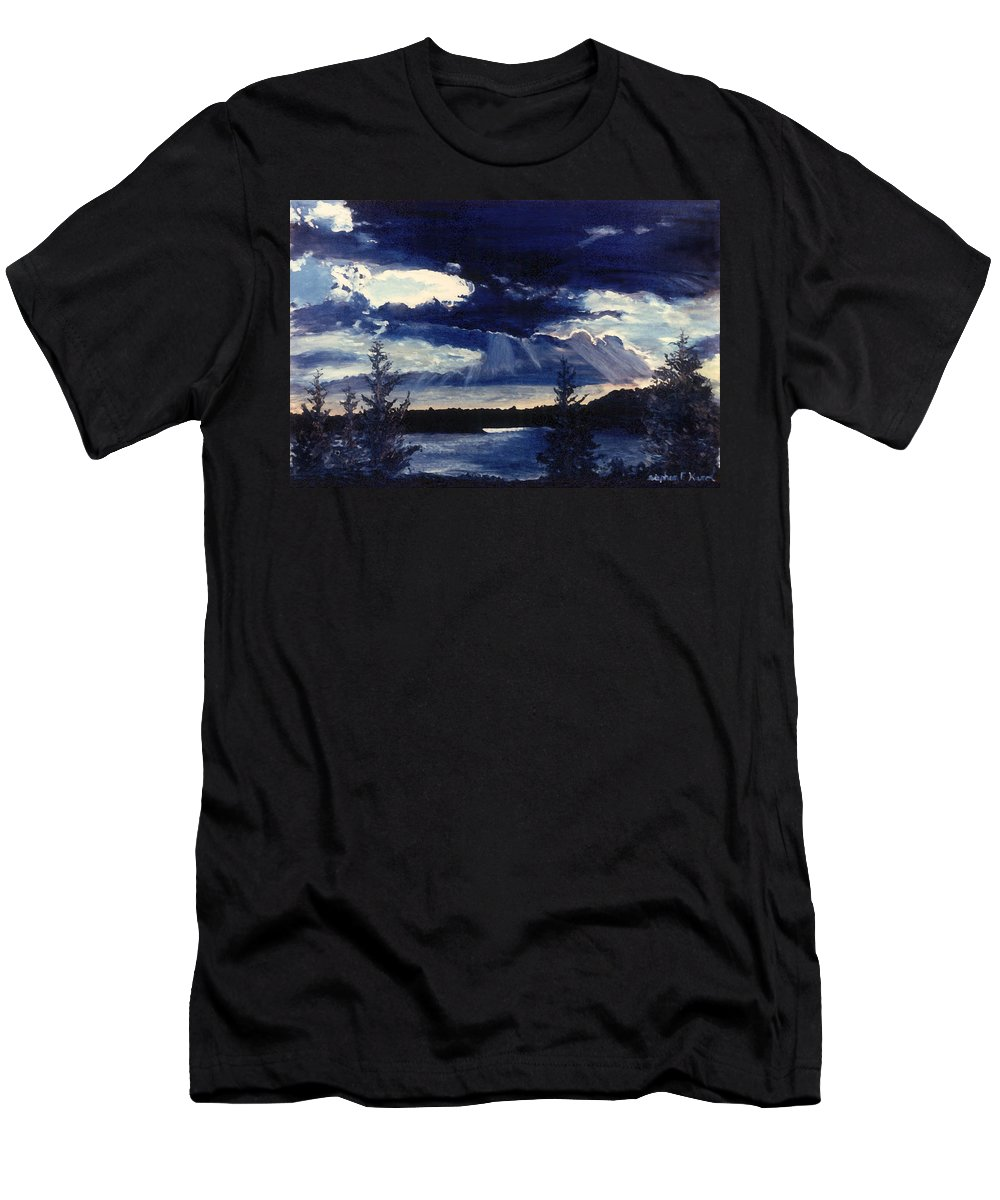 Landscape Men's T-Shirt (Athletic Fit) featuring the painting Evening Lake by Steve Karol
