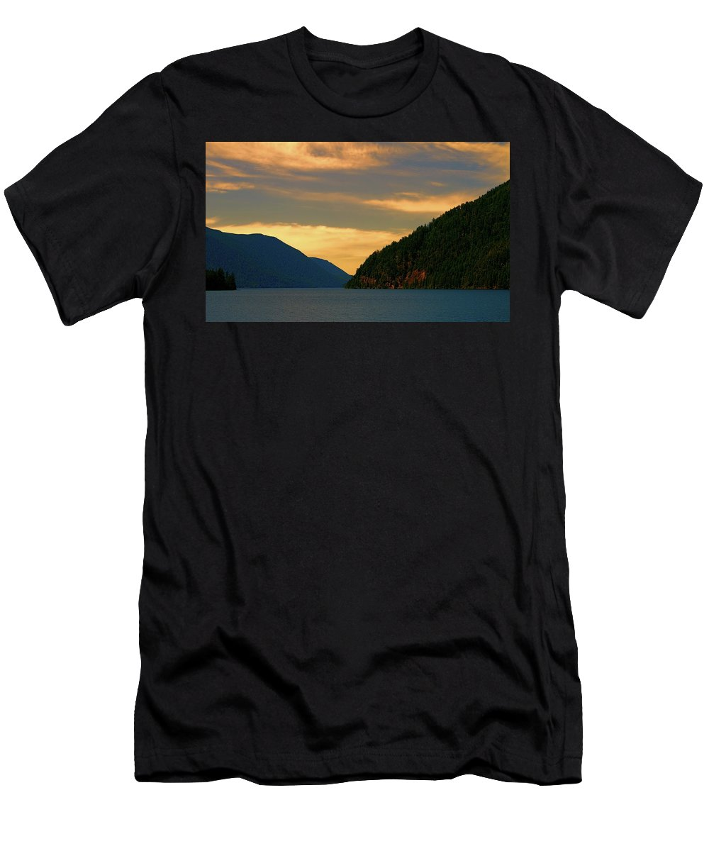 Evening Light At Lake Crescent Men's T-Shirt (Athletic Fit) featuring the photograph Evening Light At Lake Crescent by Dan Sproul