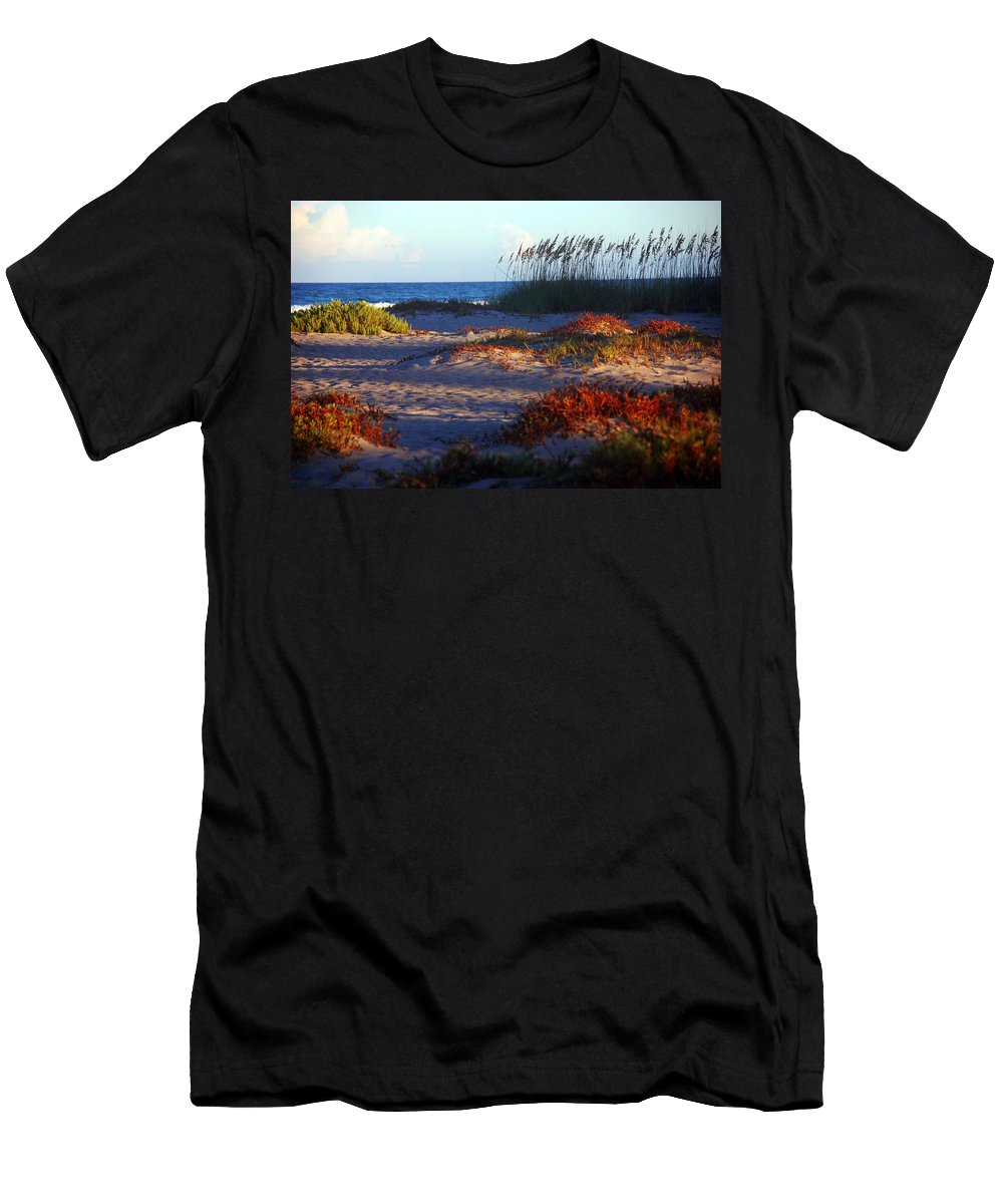 Beach Men's T-Shirt (Athletic Fit) featuring the photograph Evening Light At The Beach by Susanne Van Hulst