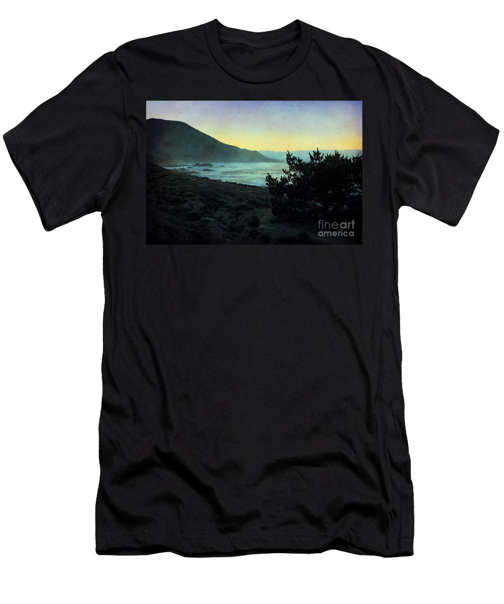 Textured Landscape Men's T-Shirt (Athletic Fit) featuring the photograph Evening On The California Coast by Ellen Cotton