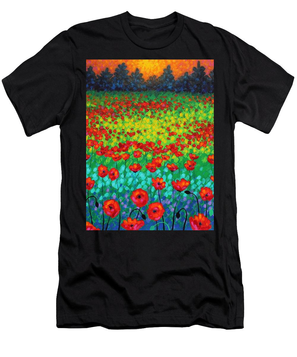 Acrylic Men's T-Shirt (Athletic Fit) featuring the painting Evening Poppies by John Nolan
