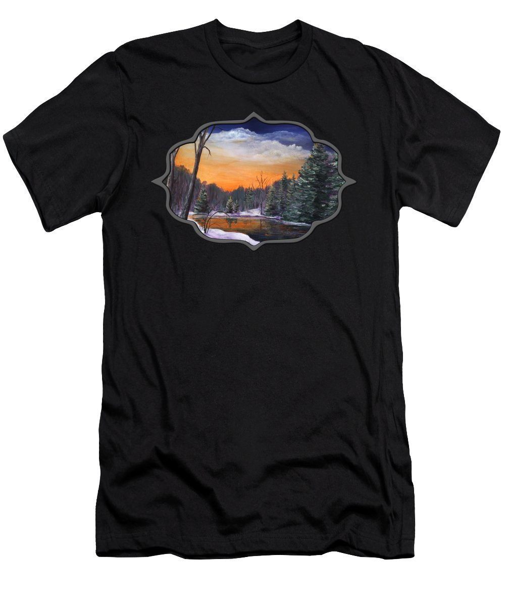 Interior Men's T-Shirt (Athletic Fit) featuring the painting Evening Reflection by Anastasiya Malakhova