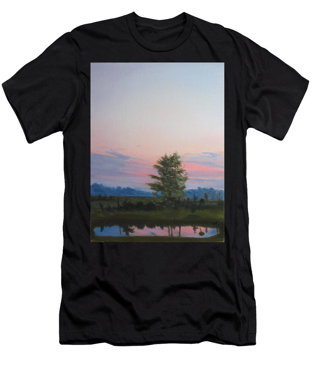 Landscape Men's T-Shirt (Athletic Fit) featuring the painting Evening Sky by Lea Novak