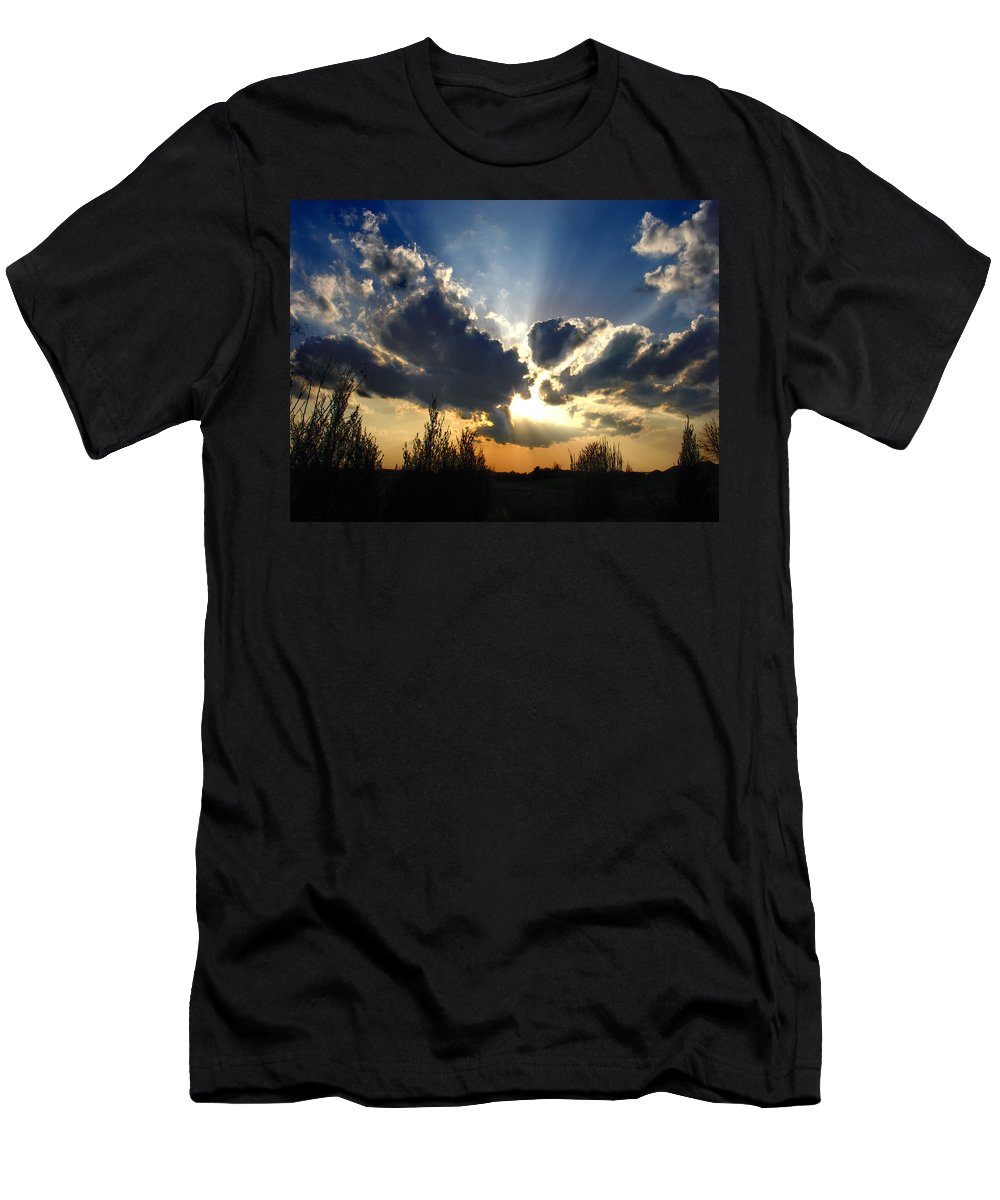 Landscape Men's T-Shirt (Athletic Fit) featuring the photograph Evening Sky by Steve Karol