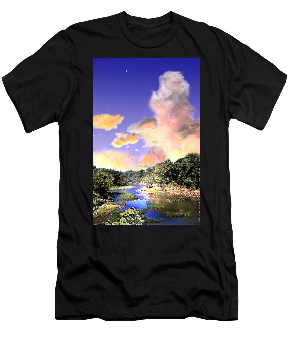 Landscape Men's T-Shirt (Athletic Fit) featuring the digital art Evening Star by Steve Karol