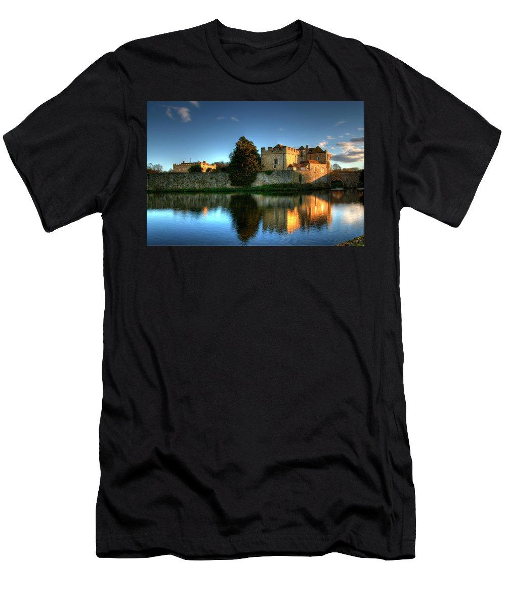 Leeds Castle Men's T-Shirt (Athletic Fit) featuring the photograph Evening Sun At Leeds Castle by Chris Thaxter