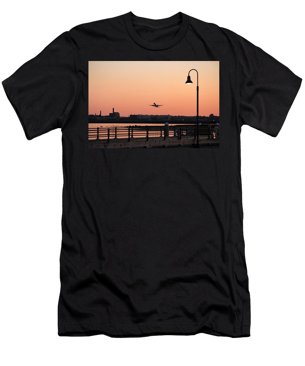 Sunset Men's T-Shirt (Athletic Fit) featuring the photograph Evening Take Off by Becca Brann