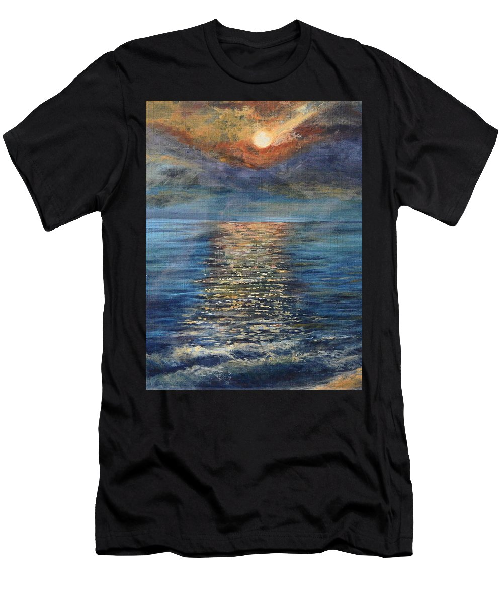 Seascape Men's T-Shirt (Athletic Fit) featuring the painting Evenning Sun by Chatri Ahpornsiri