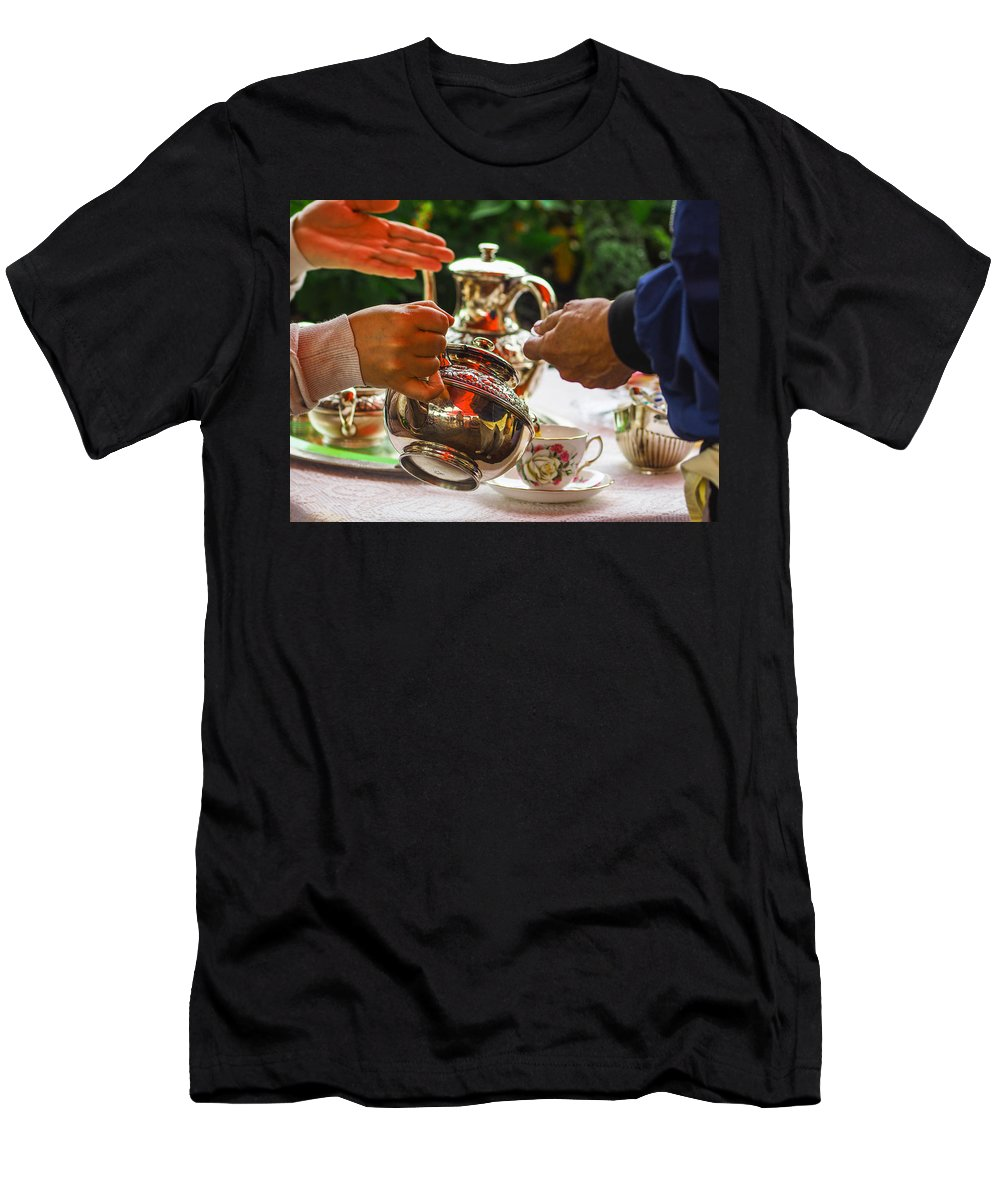 Hands Men's T-Shirt (Athletic Fit) featuring the photograph Event - Tea Garden Party - Serving by Arthur Babiarz