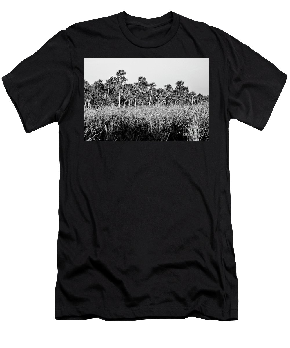 The Everglades Men's T-Shirt (Athletic Fit) featuring the photograph Everglades Grasses And Palm Trees 2 by Bob Phillips