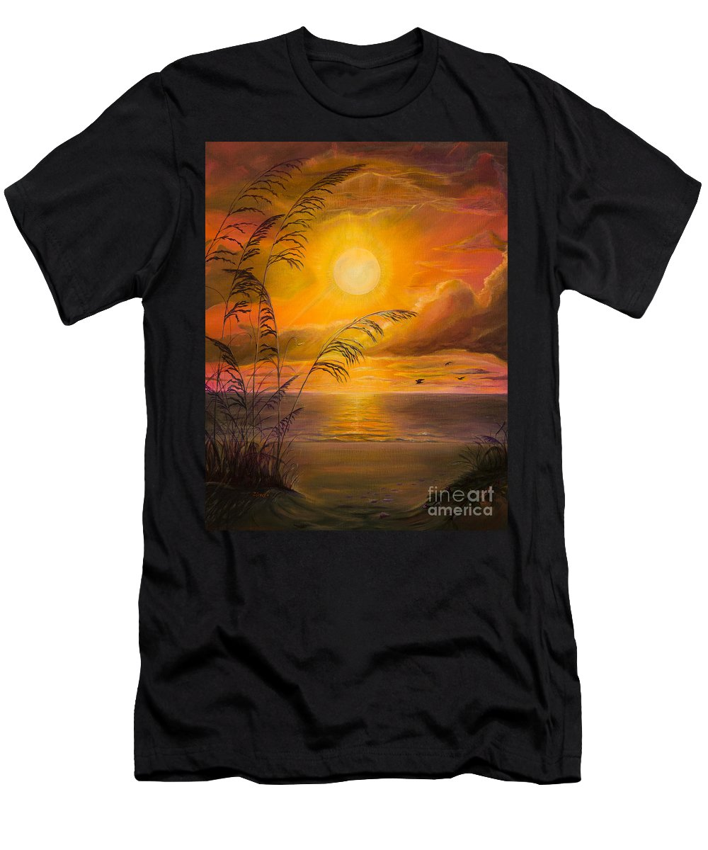Sunrise Men's T-Shirt (Athletic Fit) featuring the painting Everyday Sunrise by Zina Stromberg