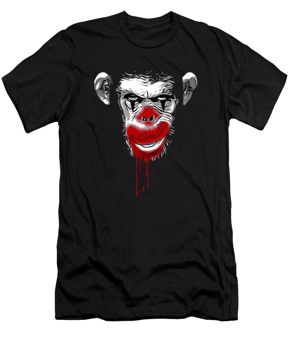 Monkey Men's T-Shirt (Athletic Fit) featuring the digital art Evil Monkey Clown by Nicklas Gustafsson