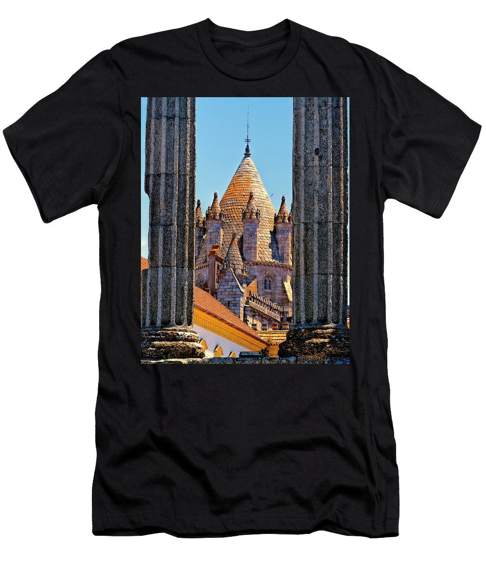 Portugal Men's T-Shirt (Athletic Fit) featuring the photograph Evora's Cathedral Tower by Claude LeTien