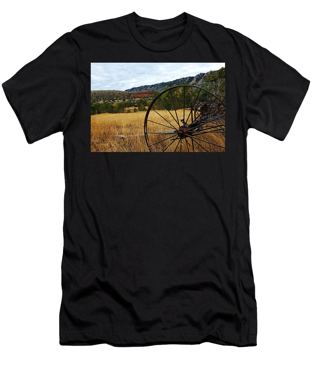 Bighorn Canyon National Recreation Area Men's T-Shirt (Athletic Fit) featuring the photograph Ewing-snell Ranch 3 by Larry Ricker