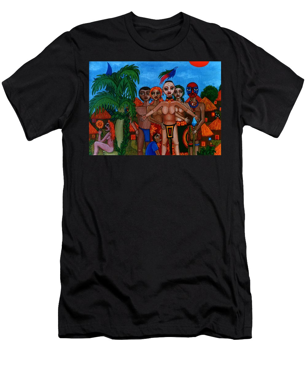 Homeland Men's T-Shirt (Athletic Fit) featuring the painting Exiled In Homeland by Madalena Lobao-Tello