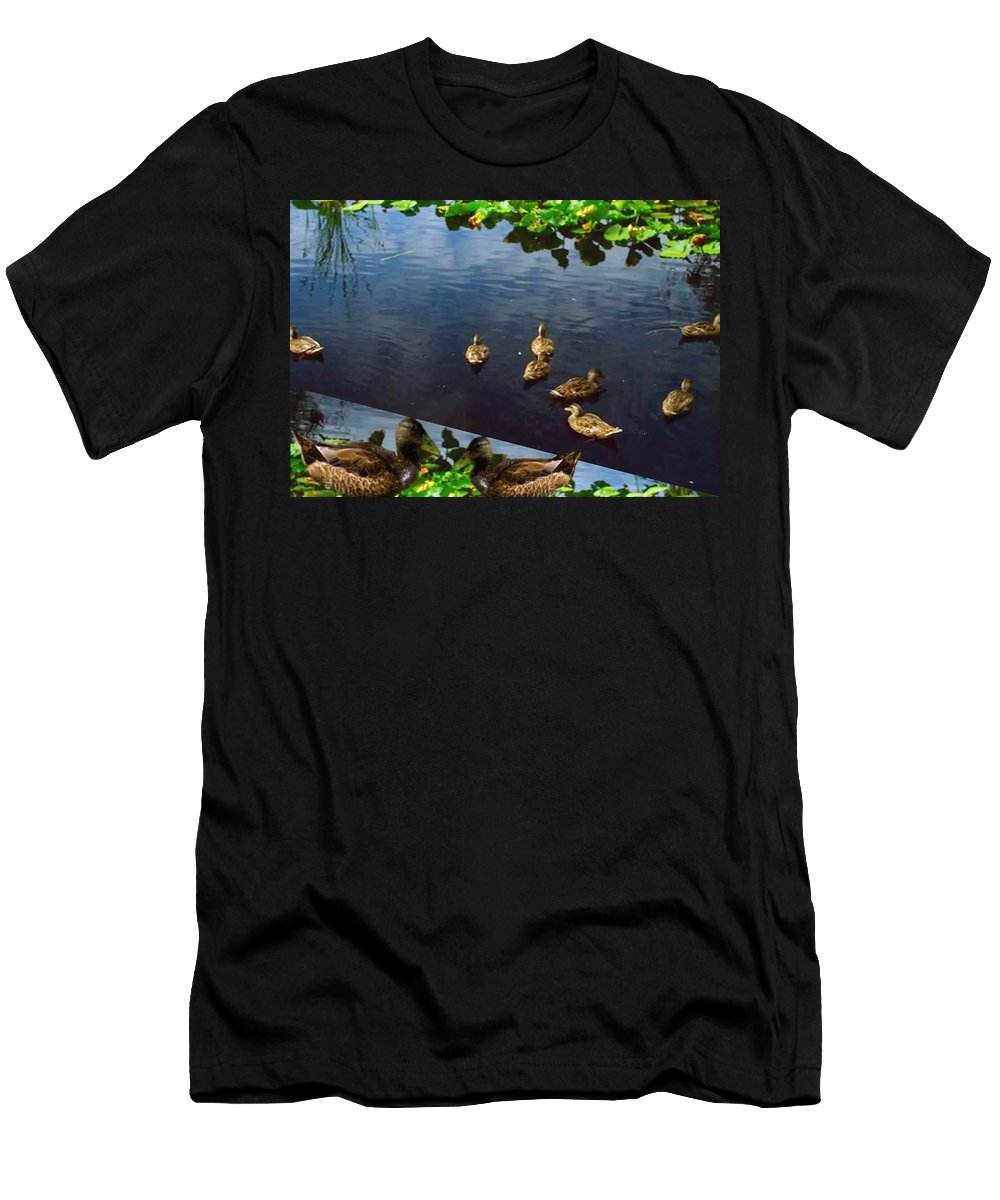 Bird Men's T-Shirt (Athletic Fit) featuring the mixed media Exotic Birds Of America Ducks In A Pond by Navin Joshi