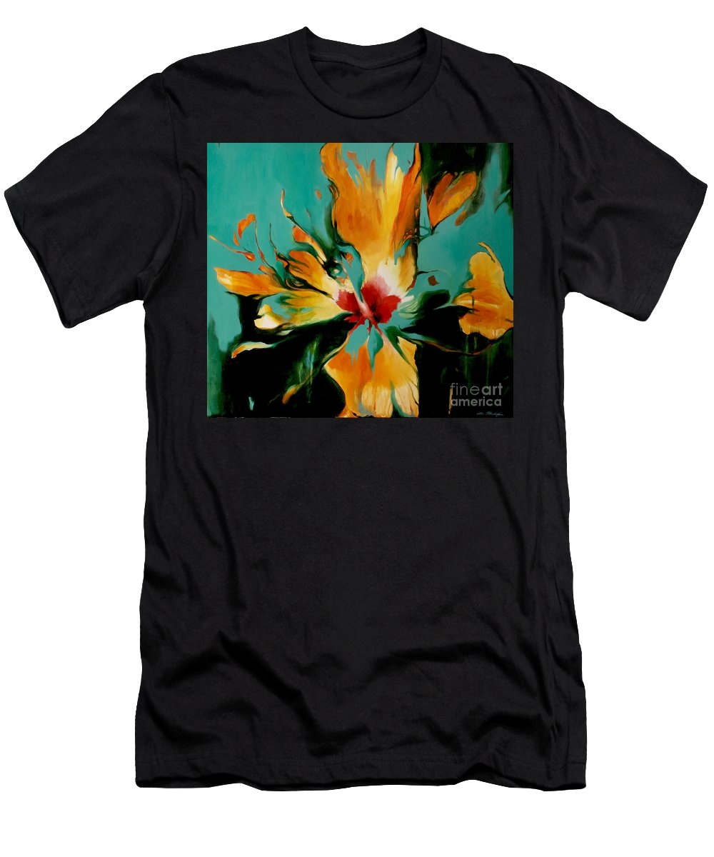 Lin Petershagen Men's T-Shirt (Athletic Fit) featuring the painting Exotic by Lin Petershagen