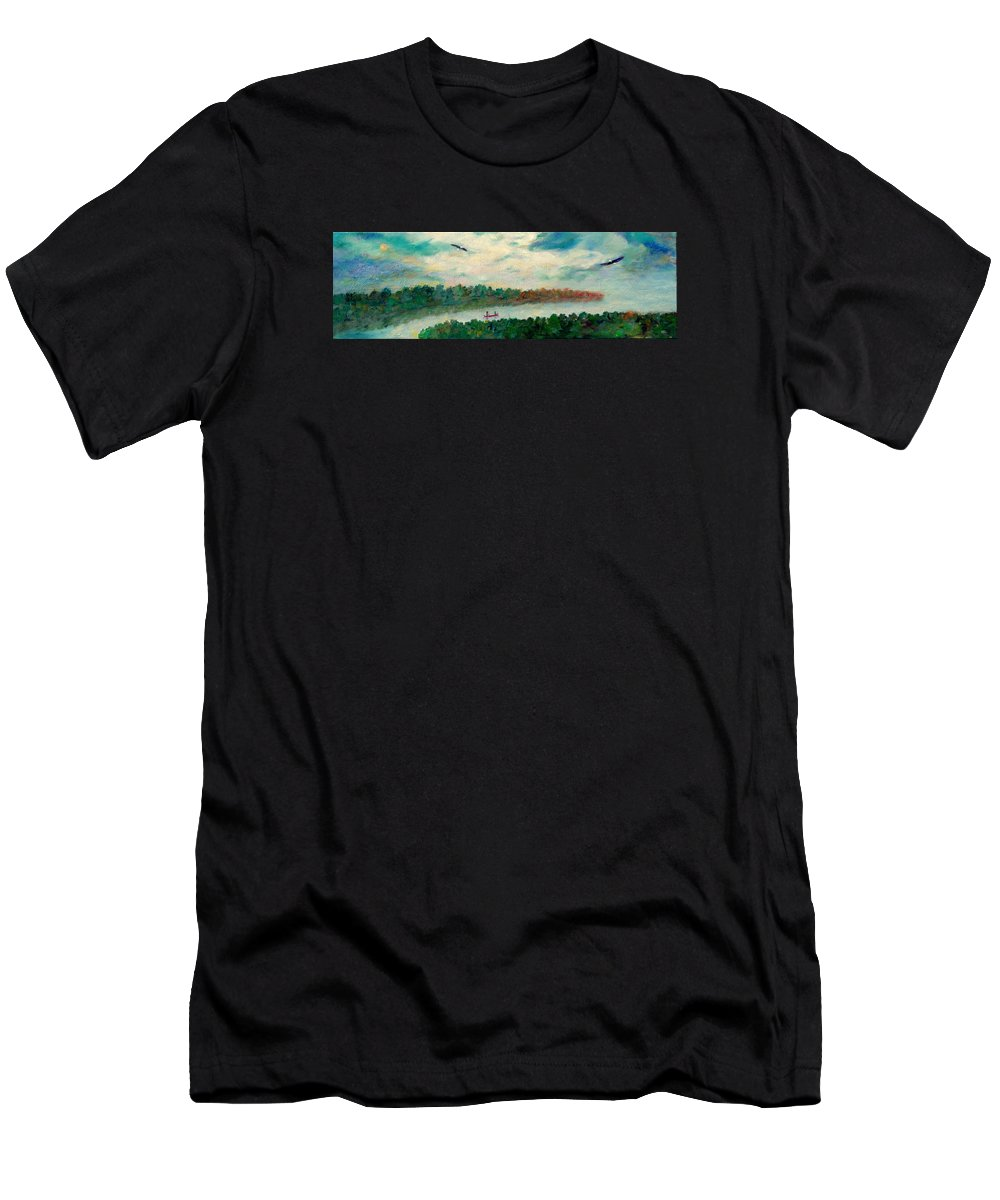 Canoeing On The Big Canadian Lakes Men's T-Shirt (Athletic Fit) featuring the painting Exploring Our Lake by Naomi Gerrard