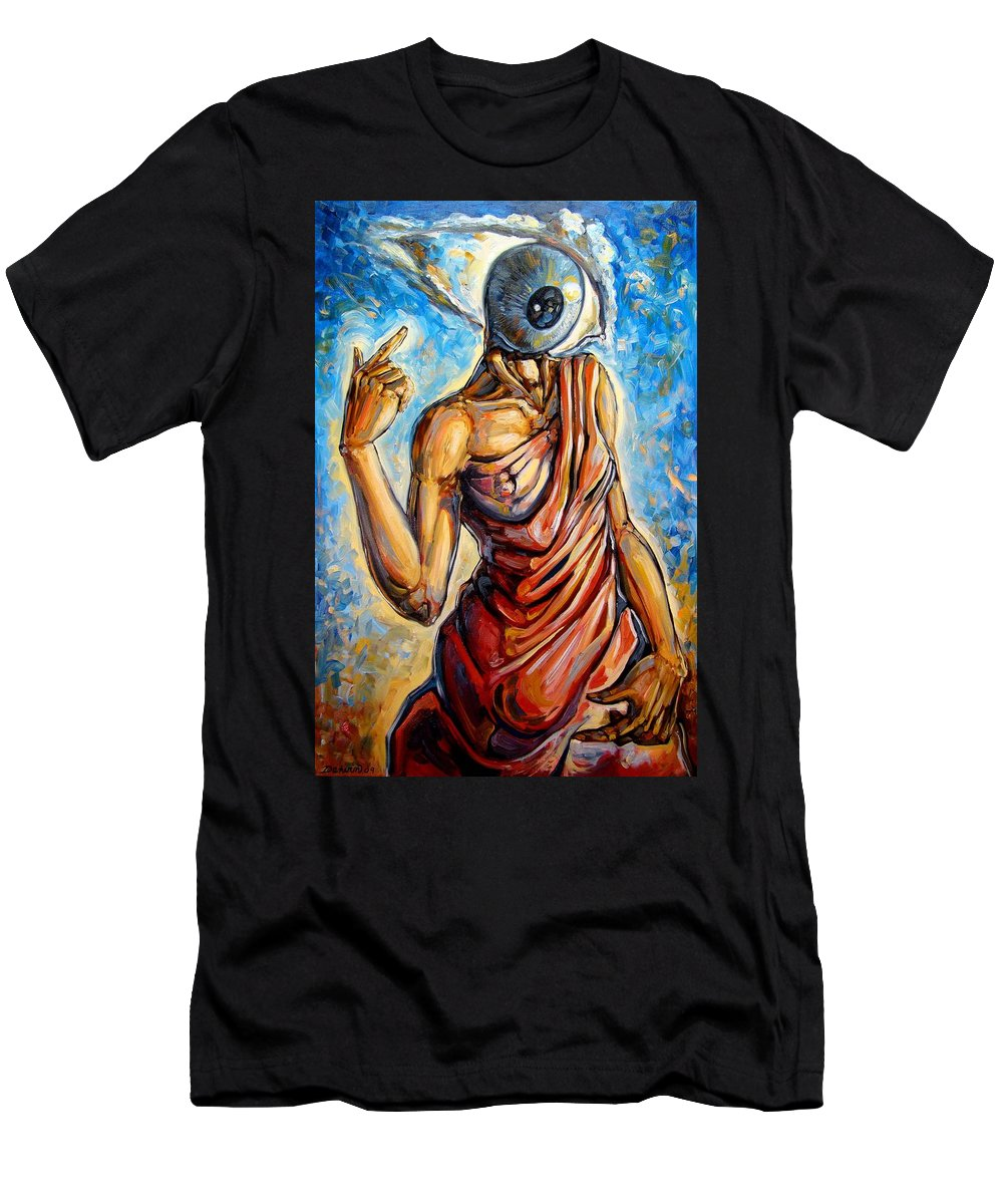 Surrealism Men's T-Shirt (Athletic Fit) featuring the painting Eye Always Was - Symbolic Representation Of Universal Energy by Darwin Leon