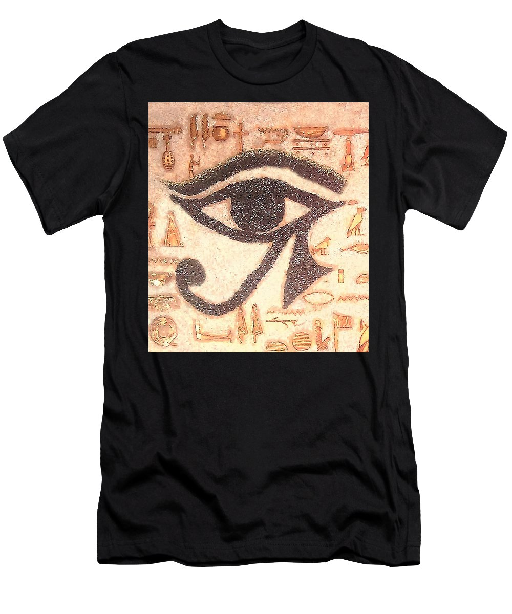 Egyptian Men's T-Shirt (Athletic Fit) featuring the painting Eye Of Horus by Allison Aaron