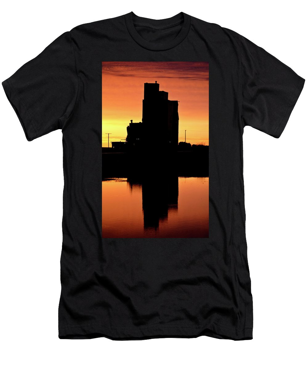 Twilight Men's T-Shirt (Athletic Fit) featuring the digital art Eyebrow Gain Elevator Reflected Off Water After Sunset by Mark Duffy