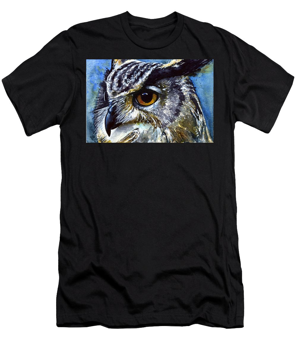 Owls Men's T-Shirt (Athletic Fit) featuring the painting Eyes Of Owls No.25 by John D Benson