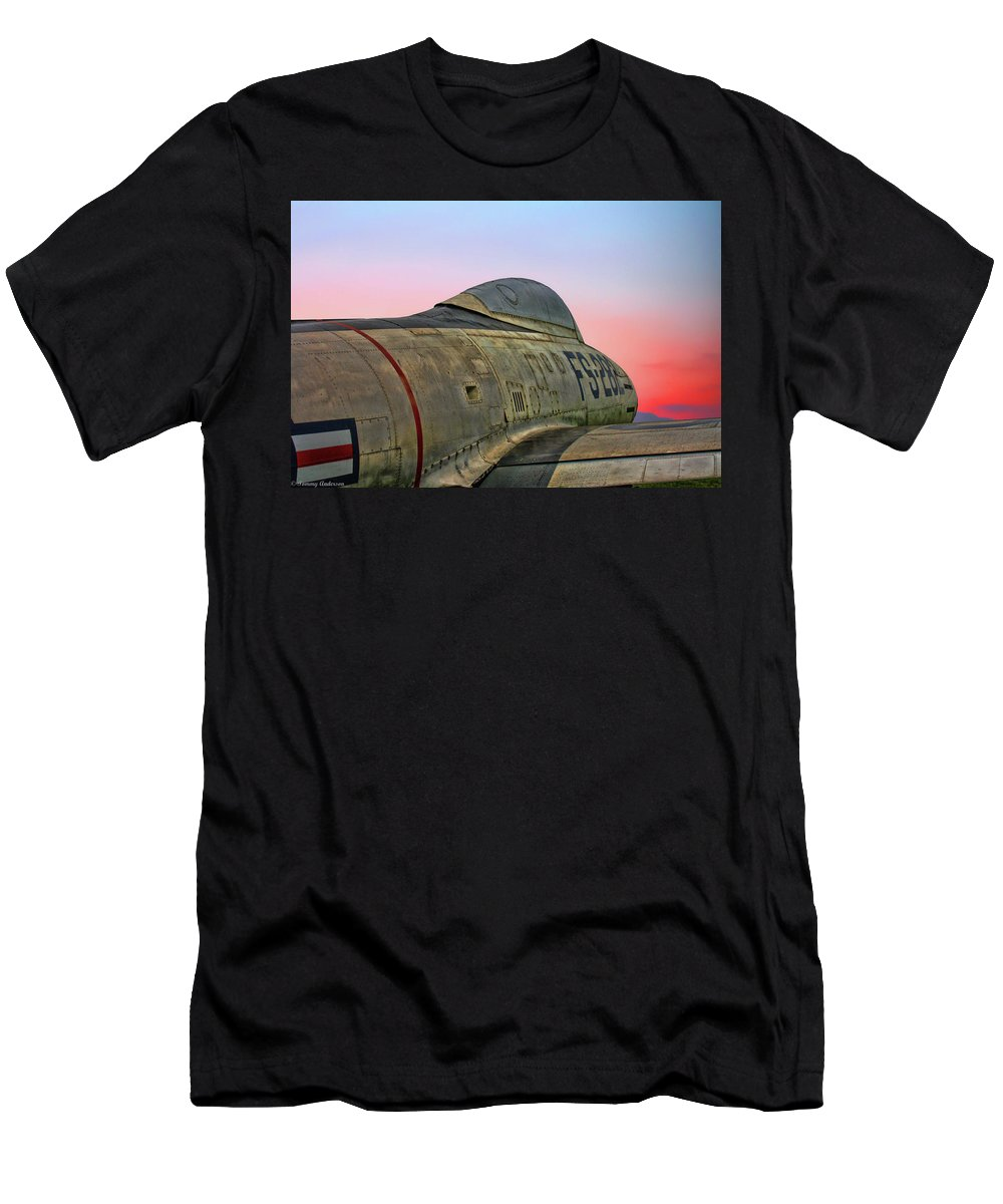 Republic F-84g Thunderjet Men's T-Shirt (Athletic Fit) featuring the photograph F-84g Thunderjet by Tommy Anderson