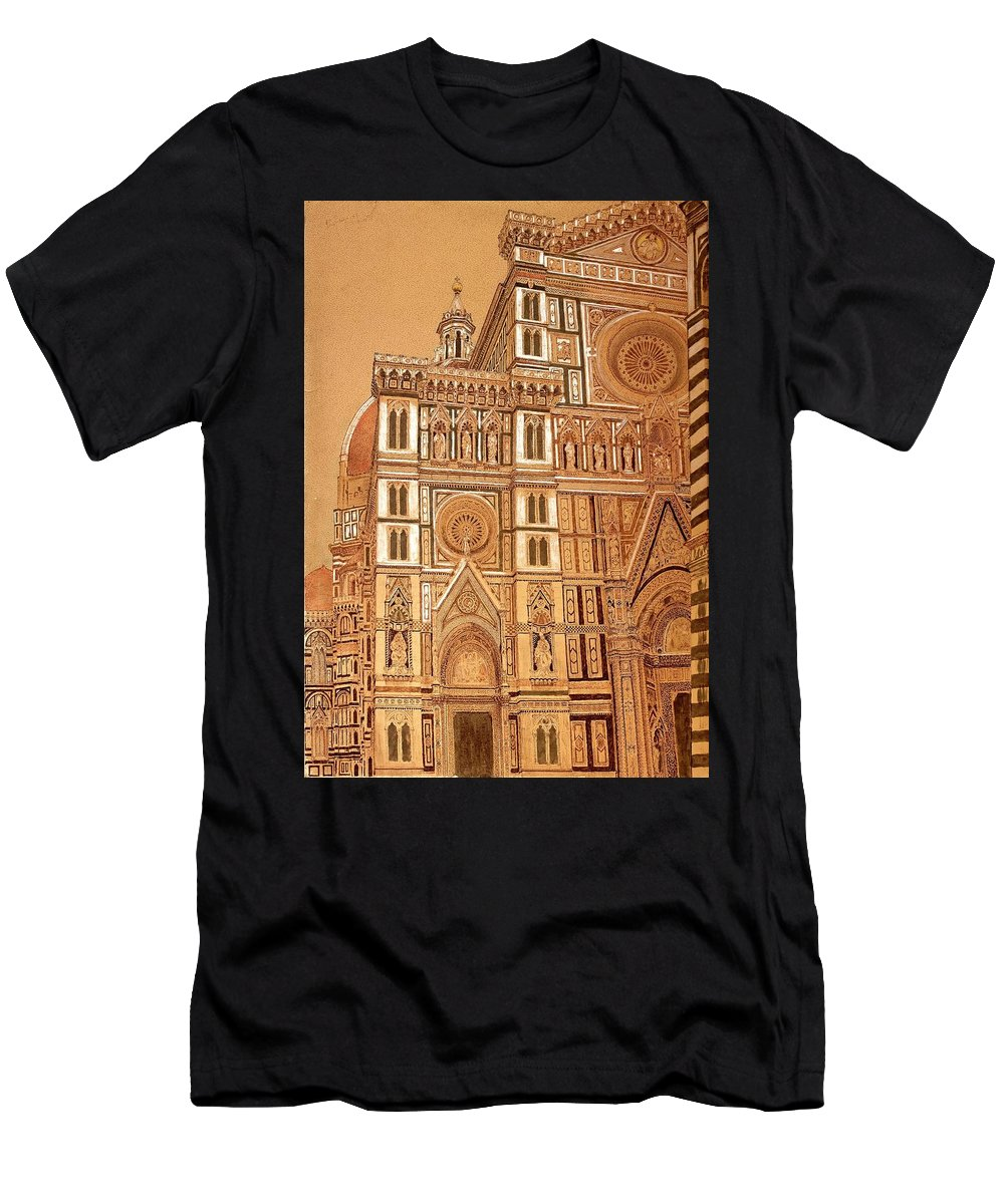 Madonna Of The Flair Men's T-Shirt (Athletic Fit) featuring the drawing Faced Of Florence Cathedral by Franco Masci