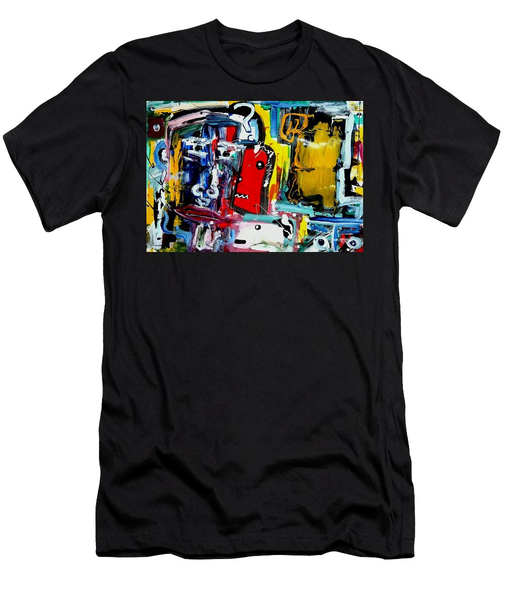 Face Men's T-Shirt (Athletic Fit) featuring the painting Faces by Saverio Filioli Filioli