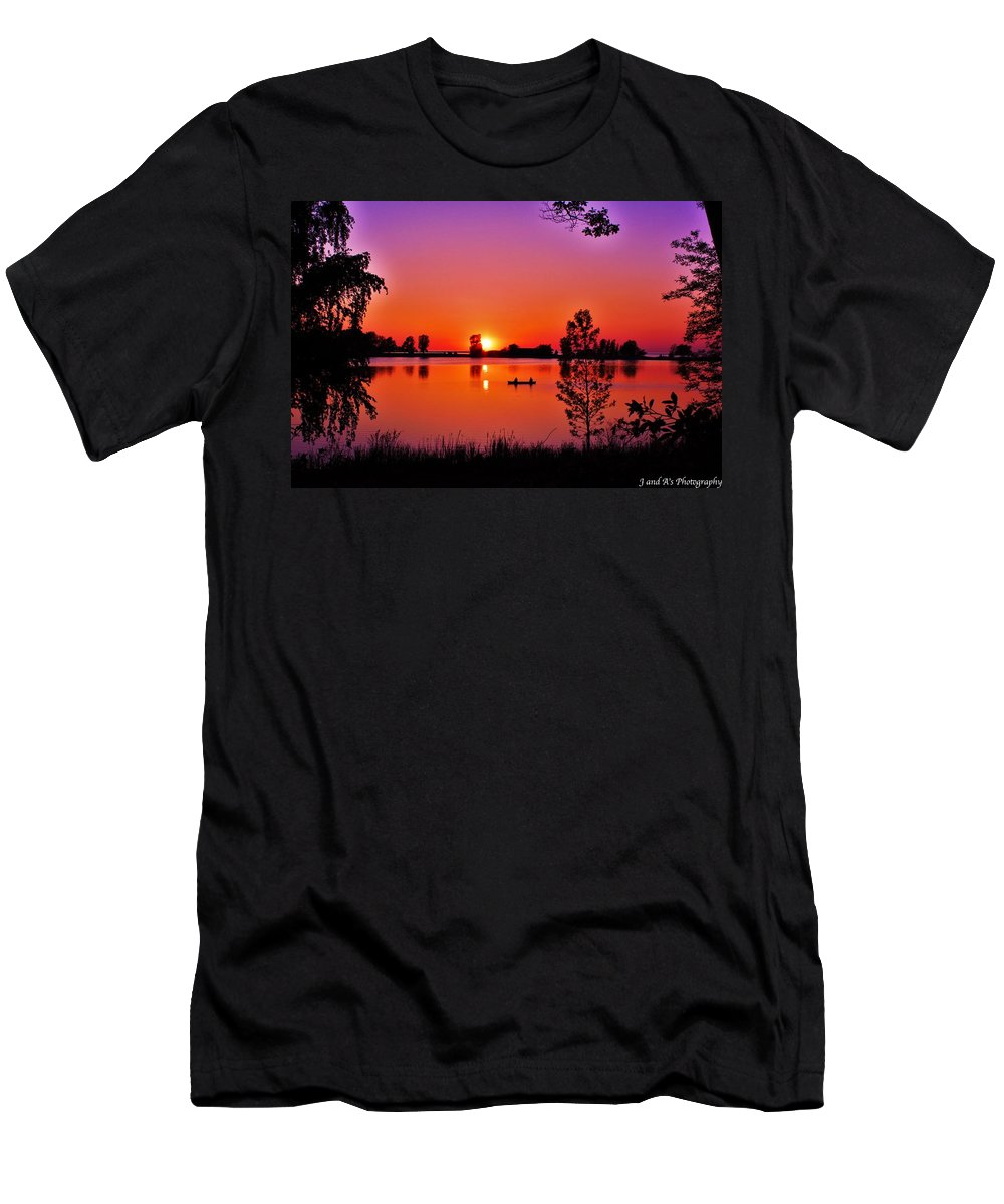 Fair Haven Beach State Park New York Sunset Men's T-Shirt (Athletic Fit) featuring the photograph Fair Haven Sunset by Justyn Ripley