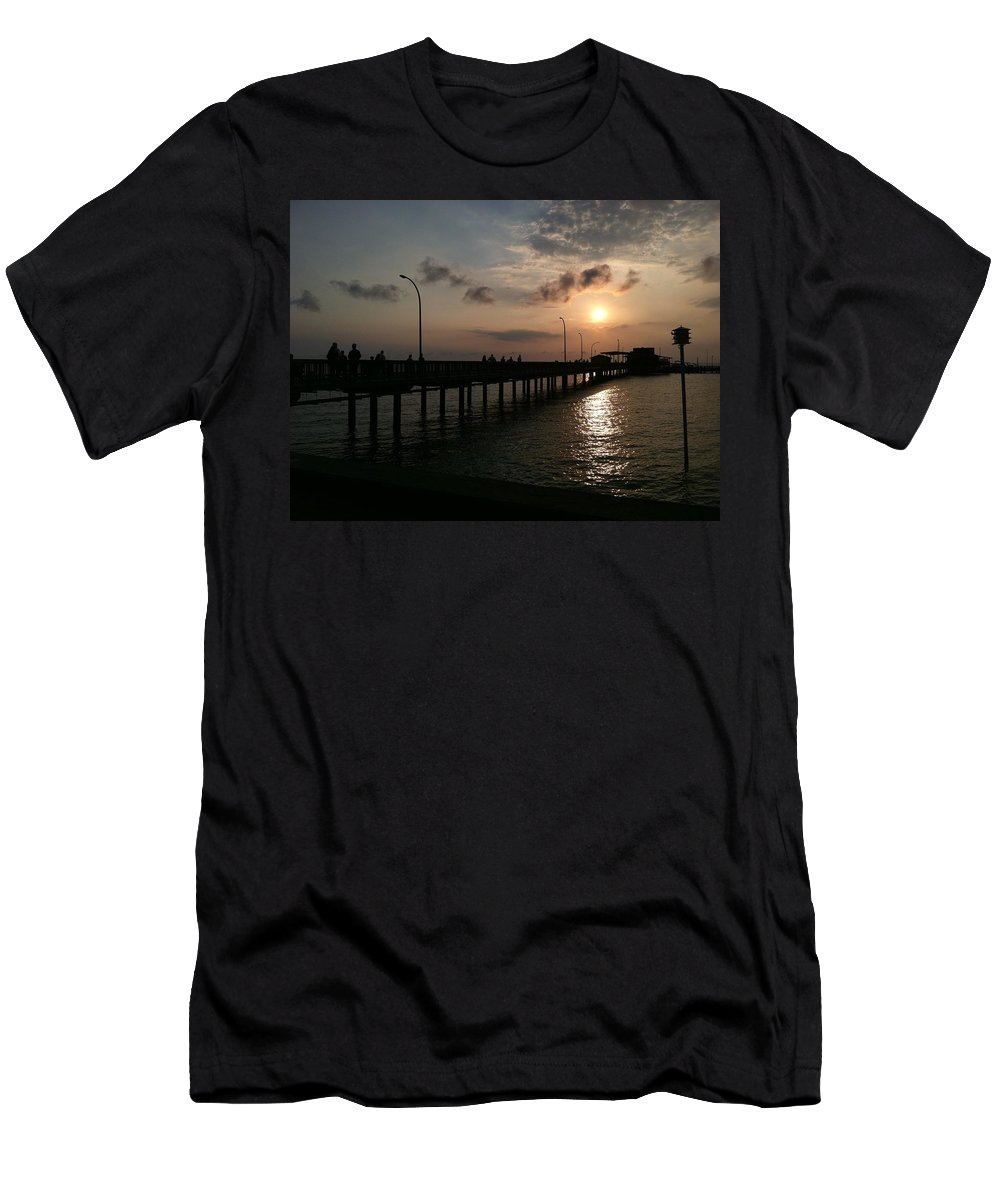 Fairhope Pier Men's T-Shirt (Athletic Fit) featuring the photograph Fairhope Pier At Dusk by Ryan Coleman