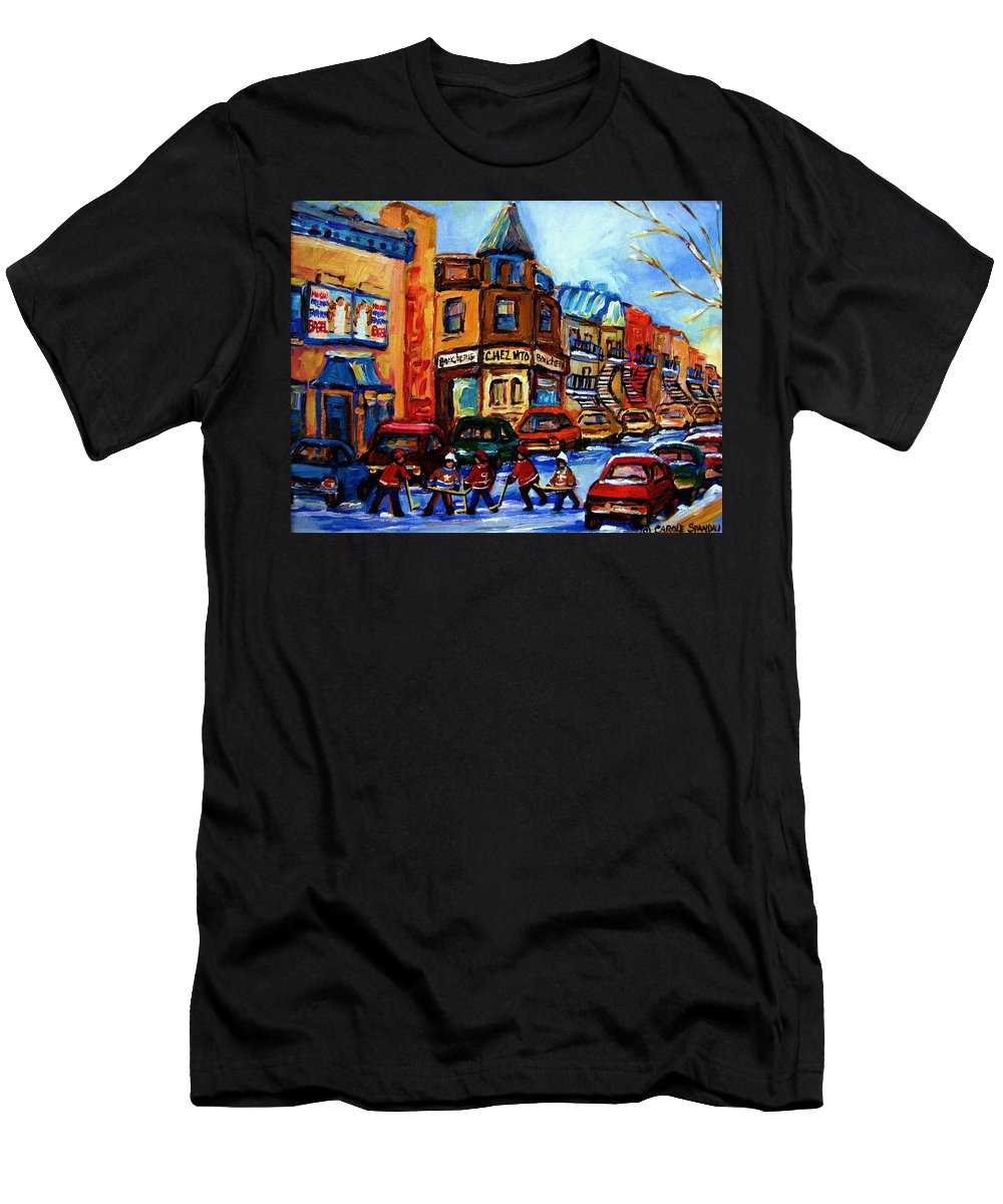 Hockey Men's T-Shirt (Athletic Fit) featuring the painting Fairmount Bagel With Hockey Game by Carole Spandau