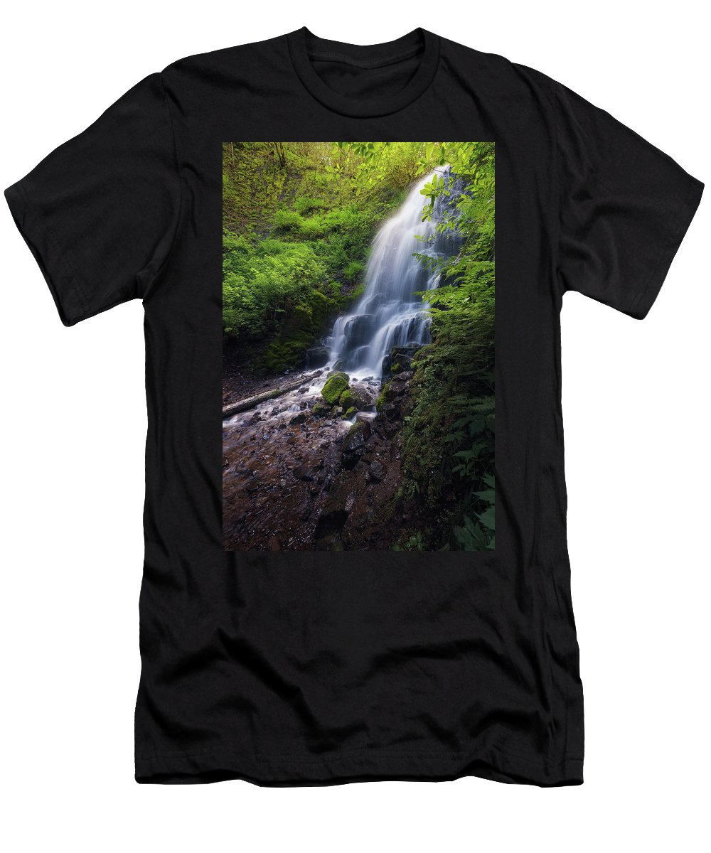 Fairy Falls Men's T-Shirt (Athletic Fit) featuring the photograph Fairy Falls by Rajesh Jyothiswaran