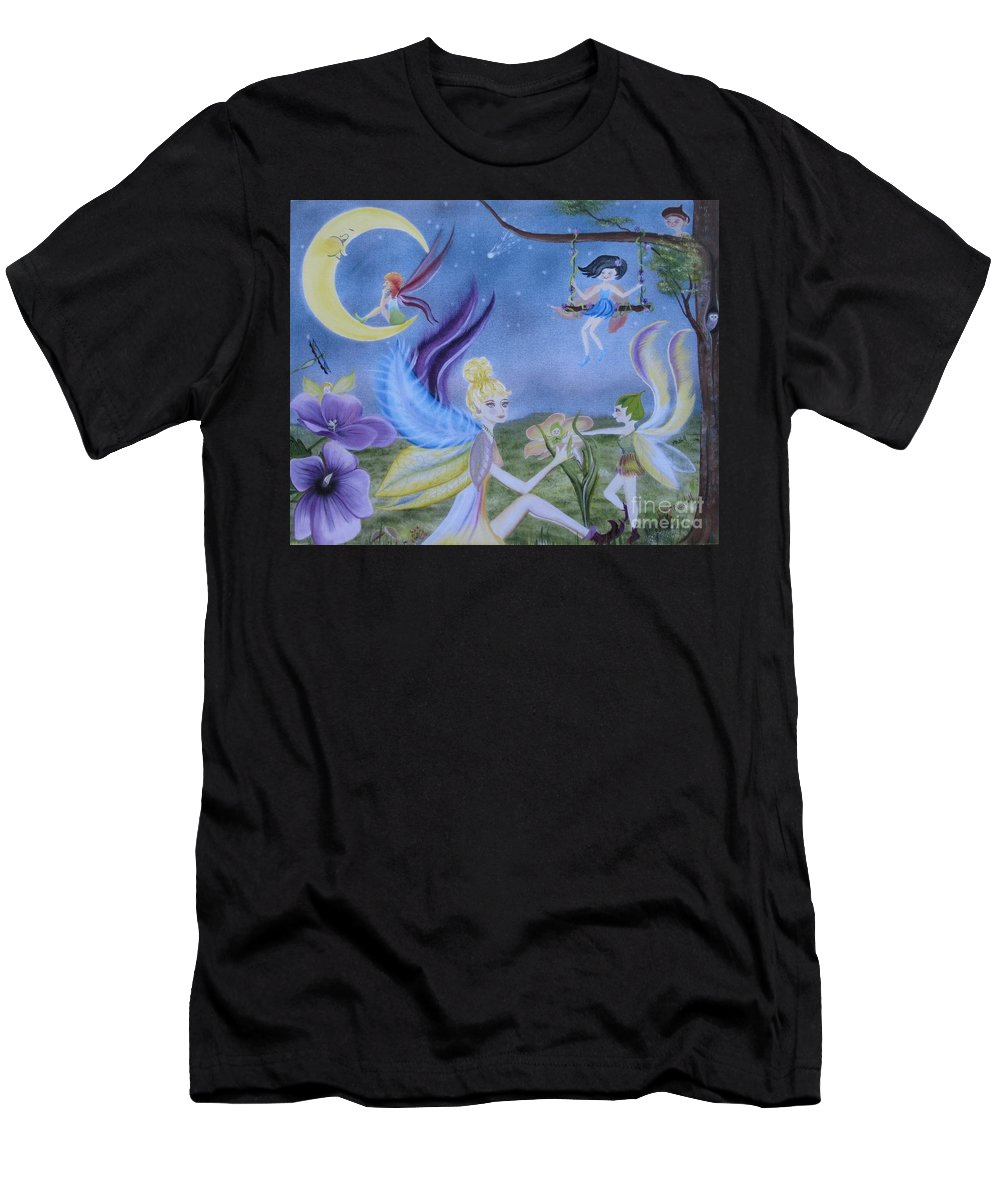 Fairies Men's T-Shirt (Athletic Fit) featuring the painting Fairy Play by RJ McNall
