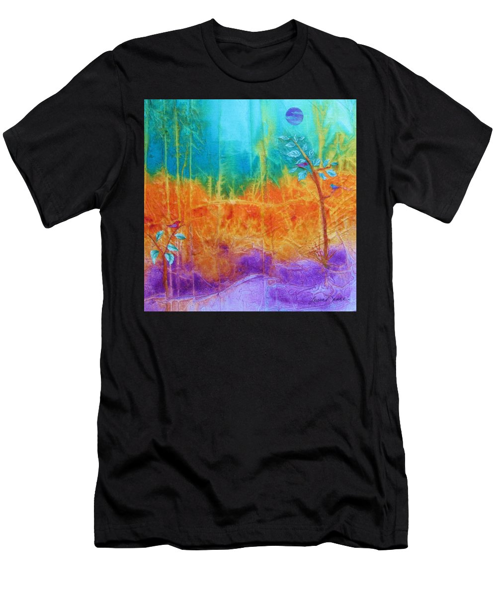 Purple Water Men's T-Shirt (Athletic Fit) featuring the painting Fairy Tale Woods by Laura Nance