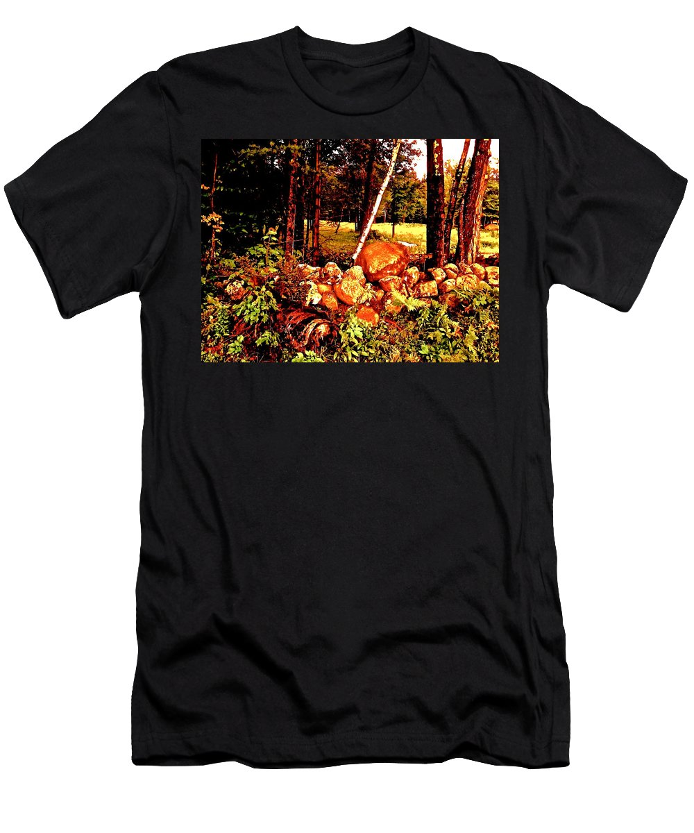 Stone Wall Men's T-Shirt (Athletic Fit) featuring the photograph Fairytale Woods by Elizabeth Tillar