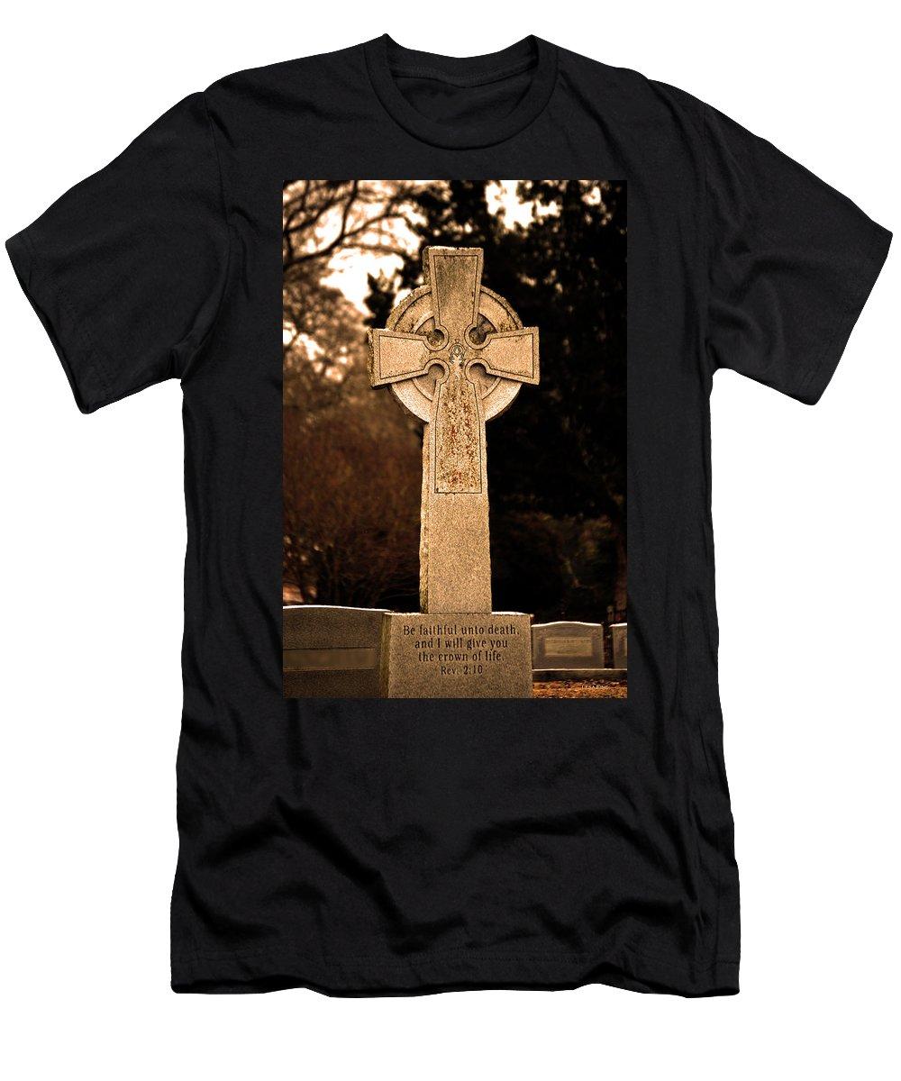Cross Men's T-Shirt (Athletic Fit) featuring the photograph Faithful Until Death by Lesa Fine