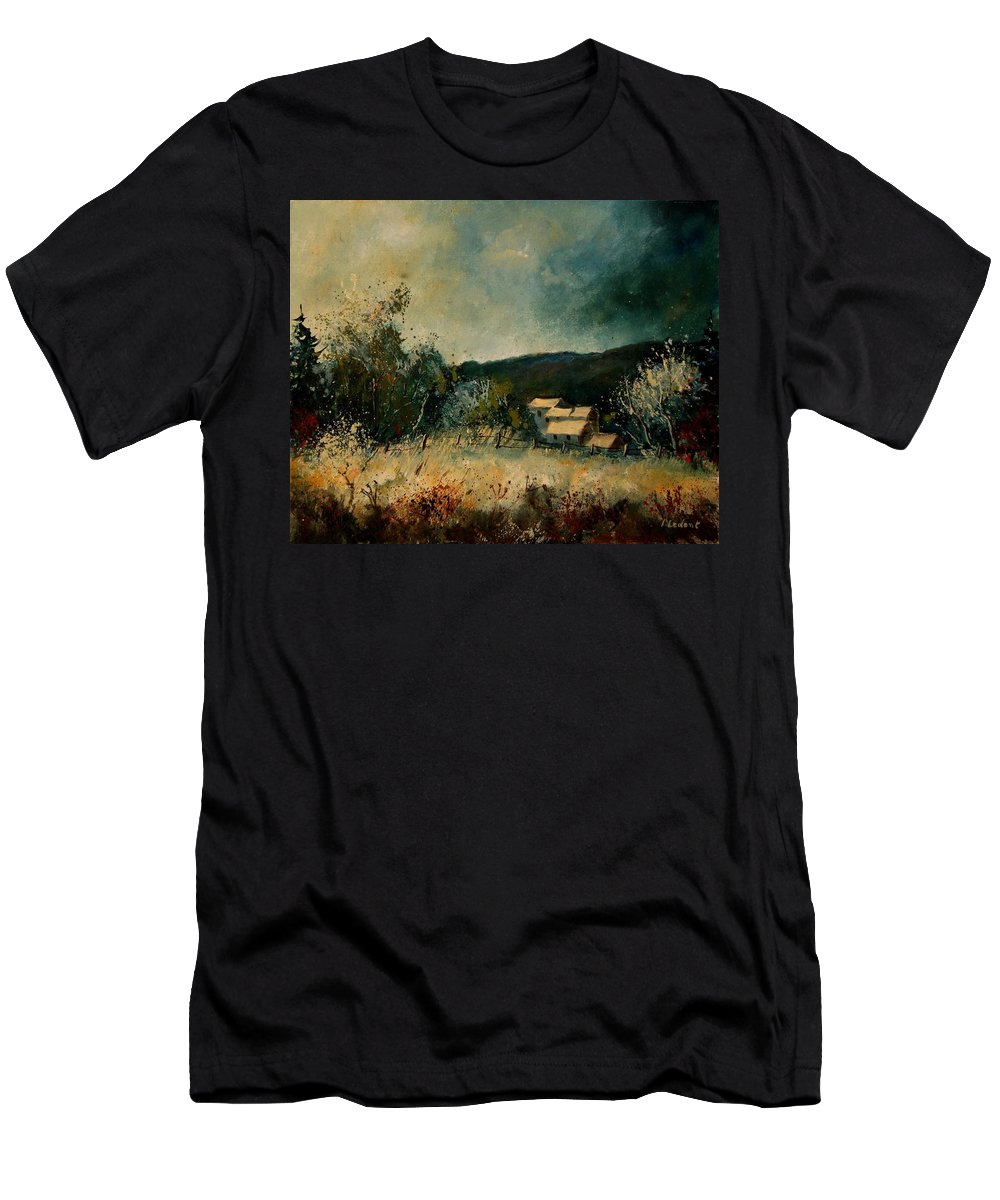 Village Men's T-Shirt (Athletic Fit) featuring the painting Fall 4590 by Pol Ledent
