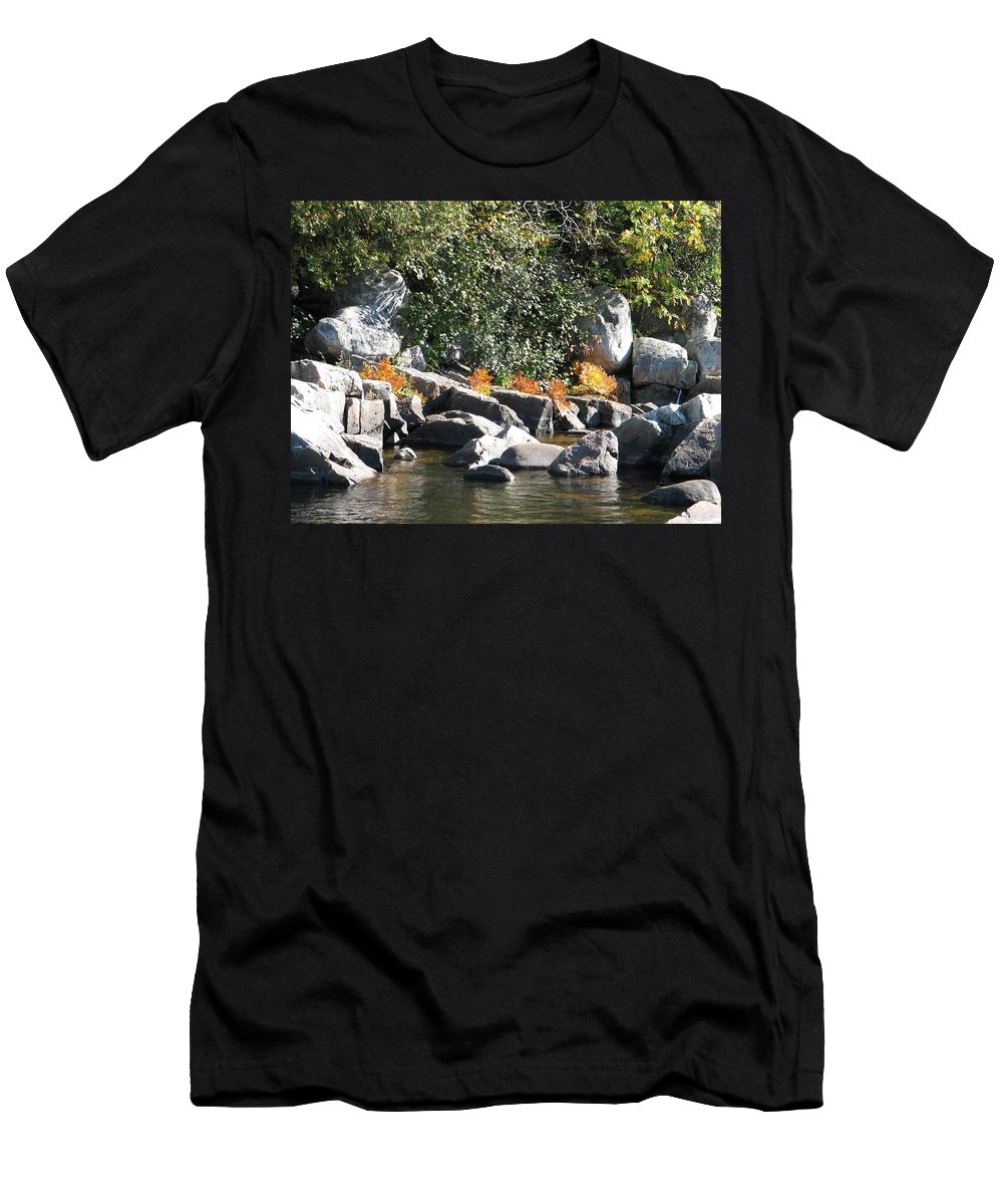 Creek Men's T-Shirt (Athletic Fit) featuring the photograph Fall At The Creek by Kelly Mezzapelle