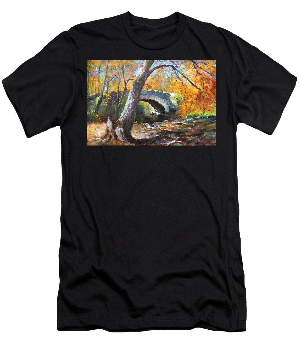Bridge Men's T-Shirt (Athletic Fit) featuring the painting Fall At Three Sisters Islands by Ylli Haruni