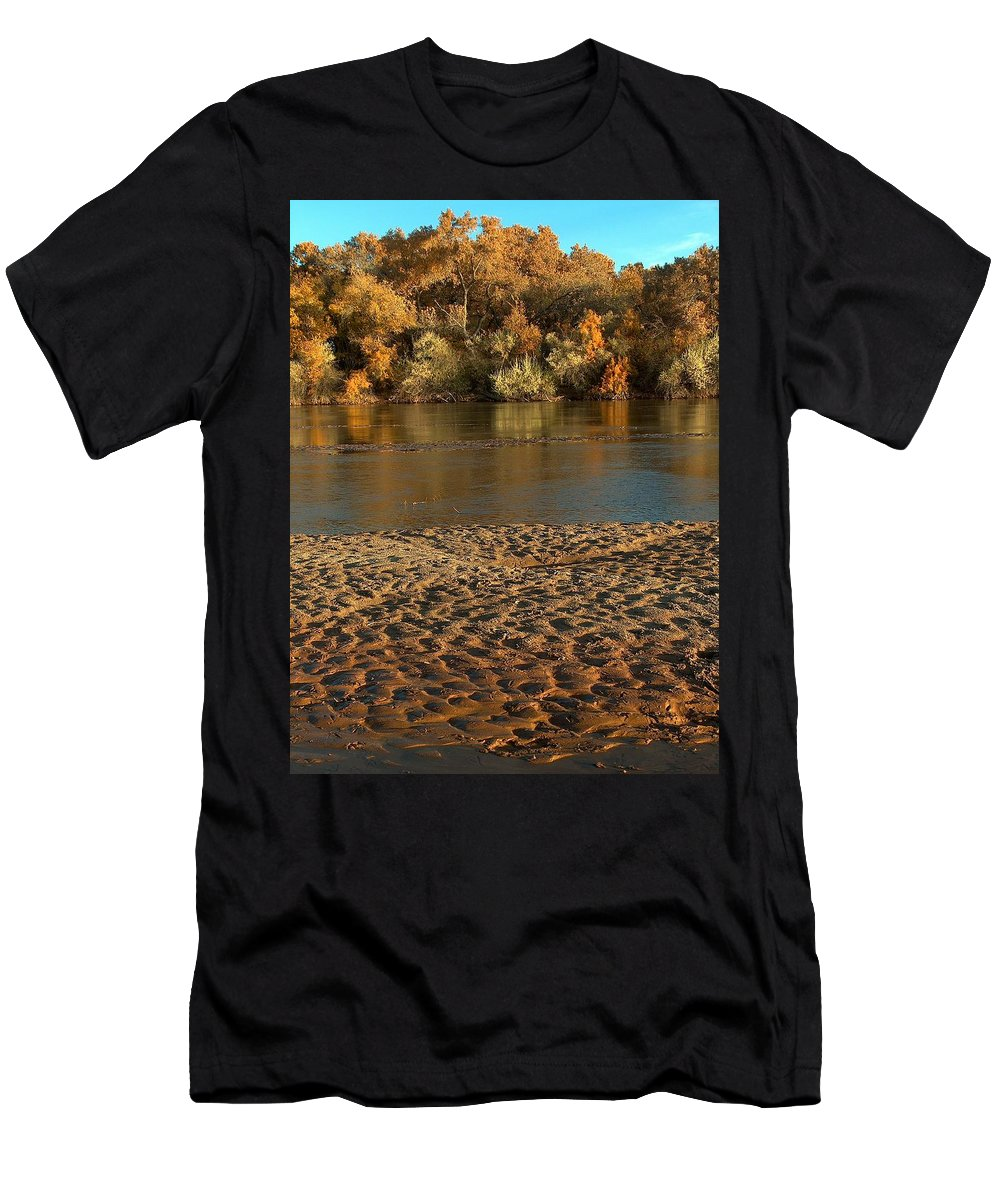 Fall Colors Men's T-Shirt (Athletic Fit) featuring the photograph Fall Colors On The Rio Grande 1 by Tim McCarthy