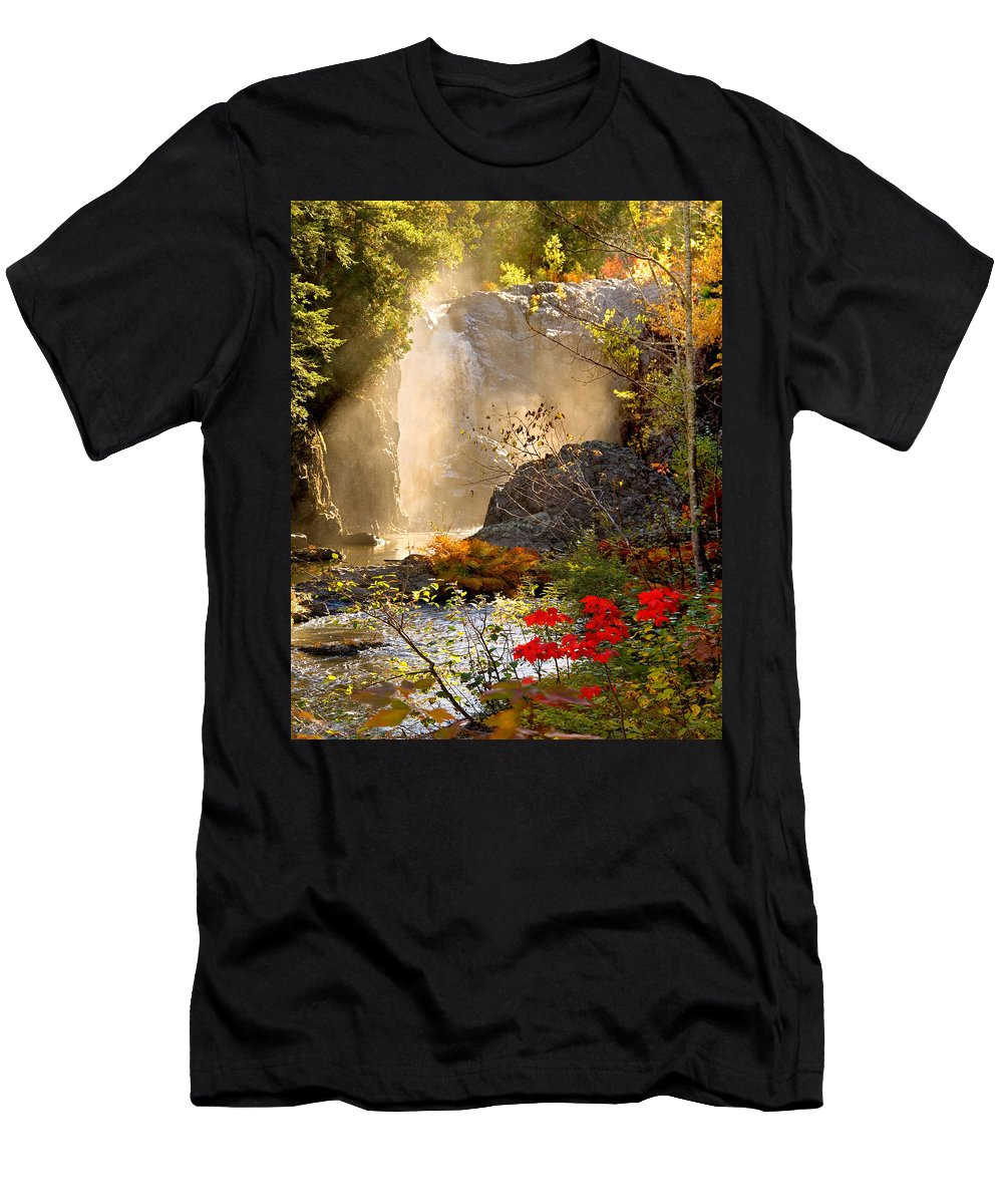 Fall Men's T-Shirt (Athletic Fit) featuring the photograph Fall Falls Mist Dead River Falls Marquette Mi by Michael Bessler