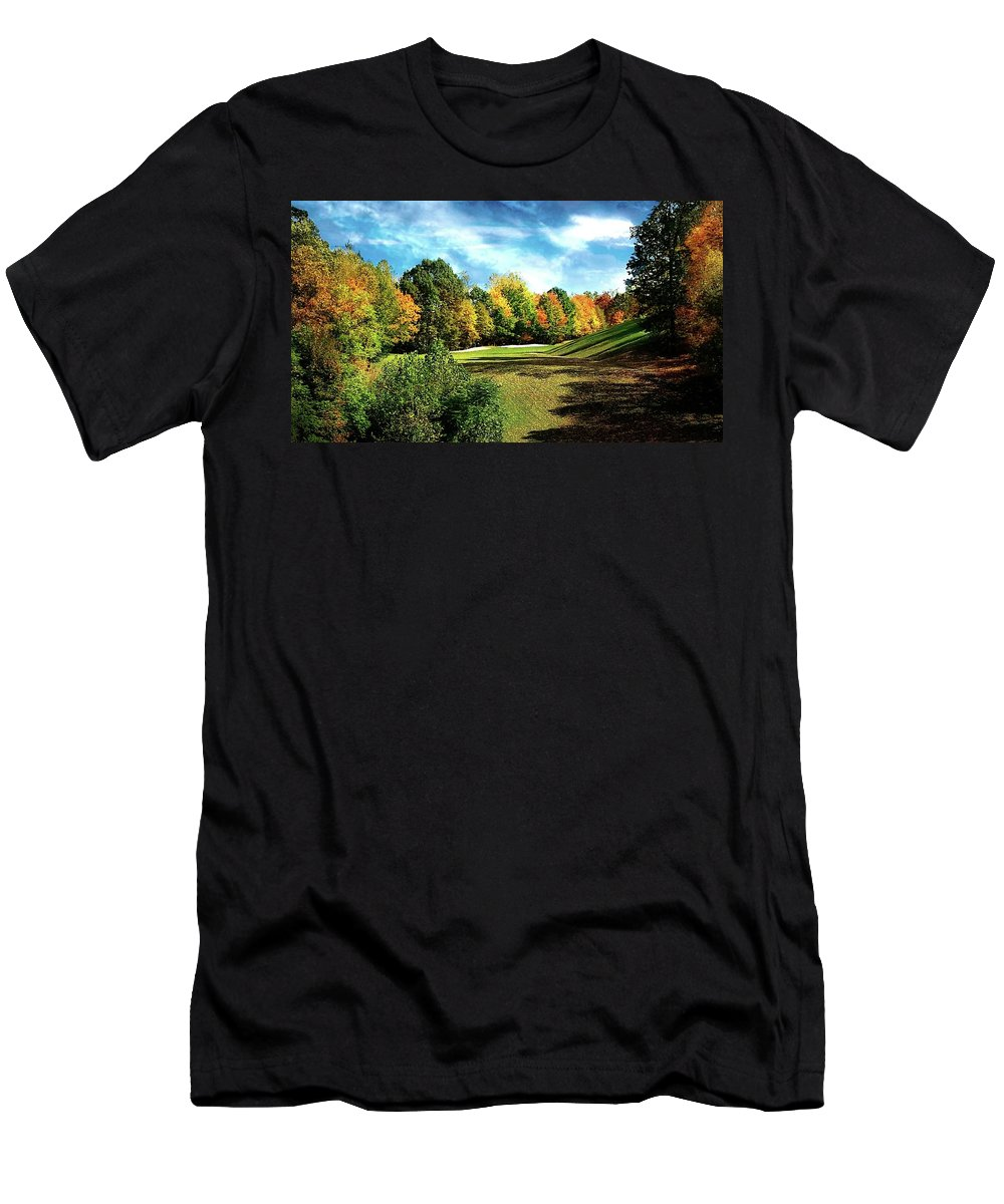 Fall Men's T-Shirt (Athletic Fit) featuring the photograph Fall Golf Course Beauty by Michael Forte