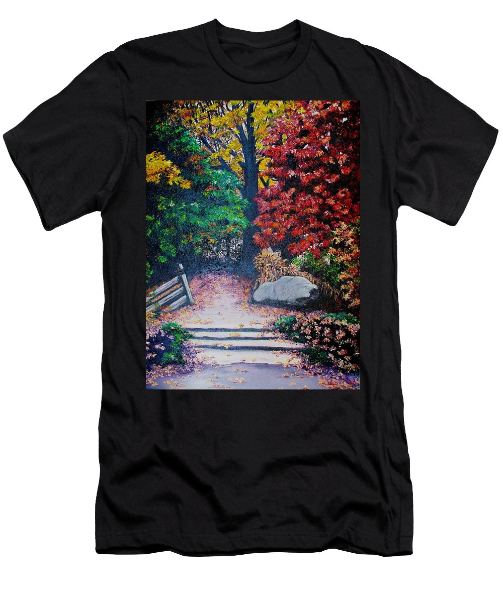 A N Original Painting Of An Autumn Scene In The Gateneau In Quebec Men's T-Shirt (Athletic Fit) featuring the painting Fall In Quebec Canada by Karin Dawn Kelshall- Best