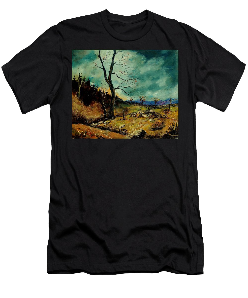 Tree Men's T-Shirt (Athletic Fit) featuring the painting Fall Landscape 56 by Pol Ledent